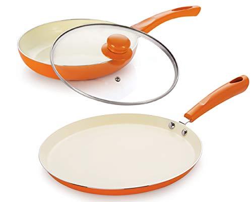 NIRLON Ceramic Non-Stick Induction 3 Pieces Combo Set (Dosa Tawa 26 * 1.8 cm & Frying Pan 24 * 4.5 cm)