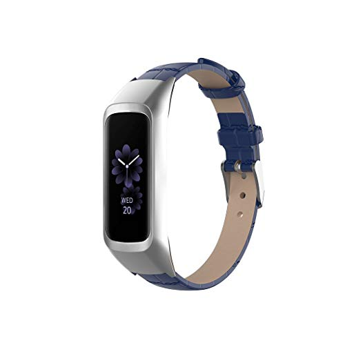 Sodoop Replacement Strap for Samsung Galaxy fit-e SM-R375, Classics Women Men Genuine Leather Replacement Wrist Band with Metal Frame for Samsung Galaxy fit-e SM-R375