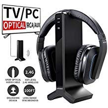 D1 Wireless TV Headphone 2.4GHz Digital Transmitter Charging Dock Multiple Headphones Connection Optical Coaxial RCA with Headphone Headset for Computer TV Radio by ()