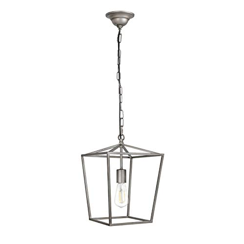 Paragon Home Pendant Light Hanging Lantern Lighting Fixture for Kitchen and Dining Room, Industrial Retro Iron Chandelier Fixture, E26 Base, Antique Nickel (Bulbs Not Included)