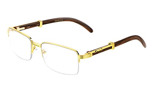 Executive Half Rim Rectangular Metal & Wood Eyeglasses / Clear Lens Sunglasses - Frames (Gold & Dark Brown Wood, - Clear Glass Frames