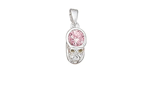 Sterling Silver Girls .8mm Box Chain October Simulated Birthstone Girl Baby Pendant Necklace