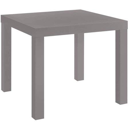 Parsons End Table in Contemporary Style, MDF Laminate, Easy to Assemble with No Tools Required. Easy to Care, Gray Finish + Include Free Furniture Polish ()