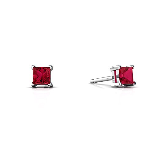 14kt White Gold Lab Ruby 3mm Square Princess Cut Stud Earrings ()