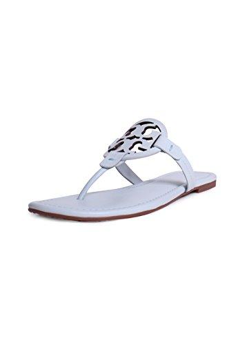 Tory Burch Women's Vachetta Leather Flat Thong Sandals - Miller (7, Seltzer)