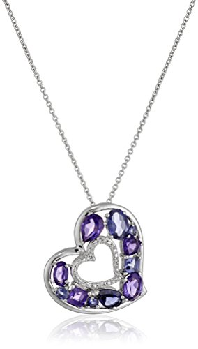 """Sterling Silver Amethyst and Iolite with Diamond Accent Heart Pendant Necklace, 18"""""""