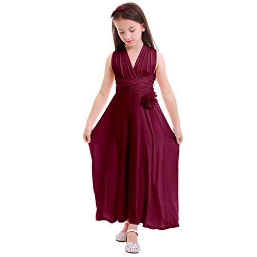 Girl Kid Transformer Infinity Convertible Multi Way Wrap Evening Dress Short Sleeveless Wedding Bridesmaid Prom Dance Gown Loose Fit Full Length Long Dancewear Praise Liturgical Dress Red 12-14 ()