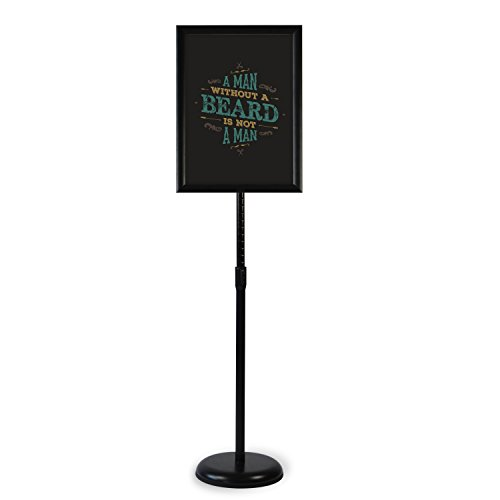 Klvied Heavy Duty Pedestal Poster Sign Stand, Adjustable Aluminum Snap Open Frame for 11 x 17 Inches Graphics, Both Vertical and Horizontal View, Black
