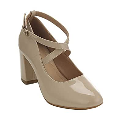 ARIES Women's Chunky Block Heel Mary Jane Pumps Closed Round Toe Heels Buckle Ankle Strap Office Business Shoes 6 M US Beige