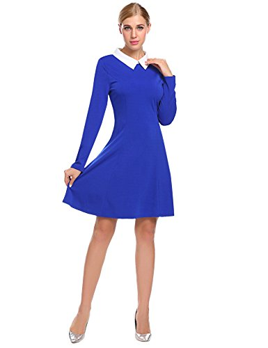 SimpleFun Women's Doll Collar Dress Peter Pan Collar Casual Work Office Dress (L, Blue)