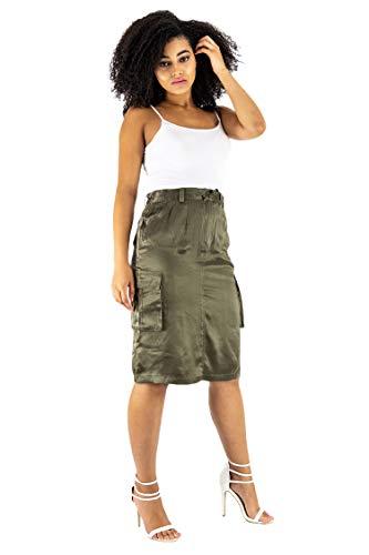 - Women's 100% Pure Silk Pencil Skirt Knee Length Cargo Pockets Green