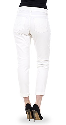 Ex Famous Store - Pantalones vaqueros de algodón ajustados para mujer Pantalones vaqueros para mujer elásticos con ajuste entallado y estrechos blanco