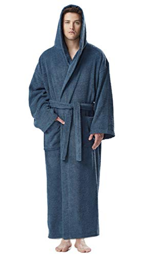 Arus Men's Hooded Classic Bathrobe Turkish Cotton Robe with Full Length Options (L/XL Long,Ocean Blue)