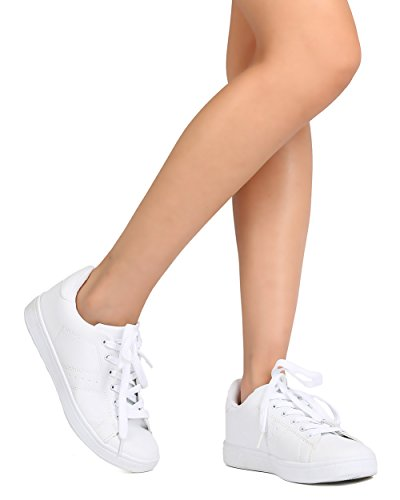 Refresh FG18 Women Leatherette Round Toe Lace Up Sneaker – White (Size: 8.0)