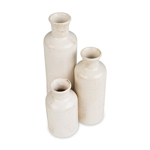 London Home Décor Set of 3 White Vases – Three Different Sizes (small 5 inch - medium 7 inch - large 10 (Three Vases)