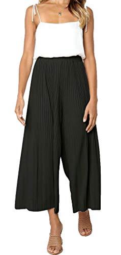 (HZSONNE Women's Solid Lightweight Flowy Elastic Waist Lounge Long Draped Ruffle Hem Bell Wide Leg Pants Loose Fit Trousers Black)