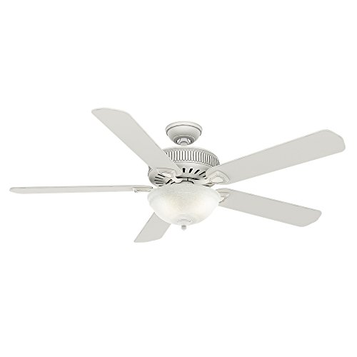 Casablanca 55005 Ainsworth Gallery 60-Inch 5-Blade Single Light Ceiling Fan, Cottage White with Cottage White Blades and Snowflake Linen Glass Bowl Light