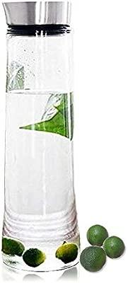 Jarra con tapa Buwico de 1 L para agua o botella de zumo, de cristal de borosilicato con tapa de acero inoxidable, para té helado, infusiones, agua, ...