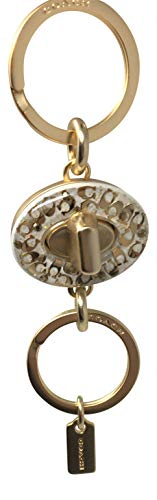 Coach Signature Turnlock Valet Keyring - #F40682 - Gold/Chalk