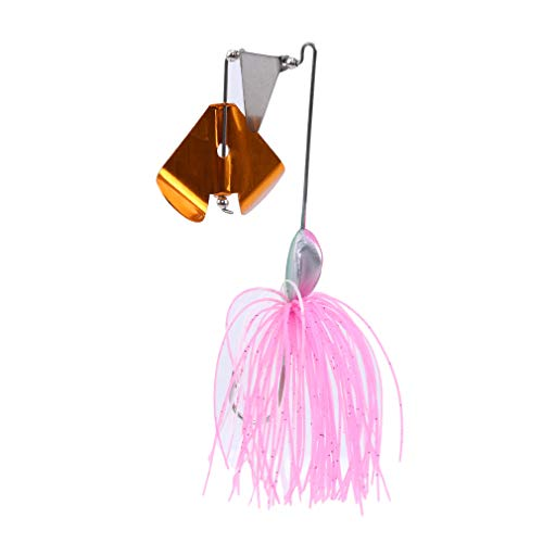TraveT Topwater Tractor Fishing Lures Small Fish Buzzbait Skirt Tail Spinner Baits Spoons Willow Leaf Tassels Lure,Pink (2)