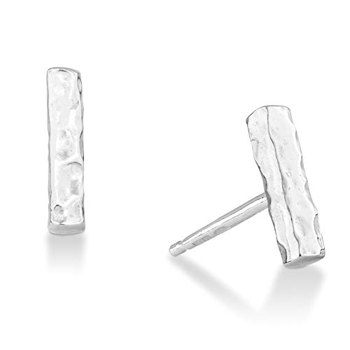 MiaBella 925 Sterling Silver Hammered Minimalist Flat Bar Dainty Stud Earrings, Jewelry for Women Teen Girls, Made in Italy (Sterling-Silver) ()