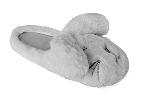 Grey Mule with Rabbit Ears Ladies Plush Slipper q7AxAp6
