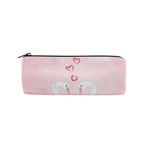 Two Swans Heart Pencil Bag Pen Case Stationery Pouch Coin Purse with Zipper for School Work Office ()