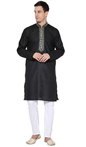 - SKAVIJ Men's Tunic Cotton Kurta Pajama Set Casual Dress (X-Large, Black)