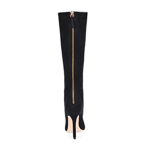 Stivali 12CM alti Best Stiletto alti Punta donna gomma arricciate Scarpe Inverno Nero a in Suola punta Tacchi Elastic Velvet Cerniera 4U® da 0BE0w5xAq