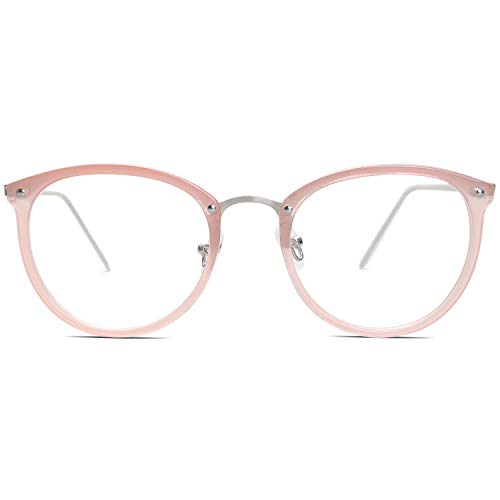 Amomoma Womens Fashion Clear Lens Round Frame Eye Glasses AM5001 Pink Frame/Clear Lens