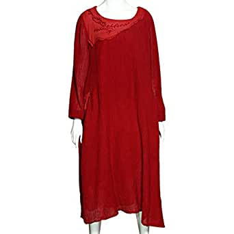 Buyitang Red Cotton Casual Dress For Women