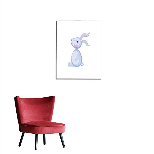Wall Sticker Decals Cartoon cute vector rabbit sitting isolated on white colorful illustration hare farmer domestic kid animal Character design for greeting card children invitation cremural 20