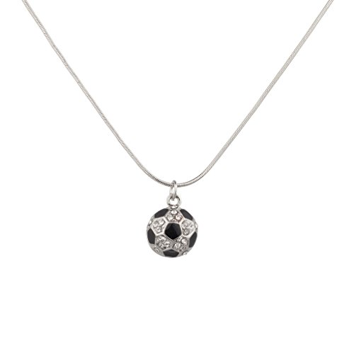 - Lux Accessories Sporty Soccer Ball Two Sided Pave Football Pendant Necklace.