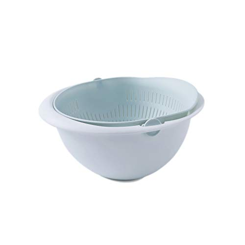 2-in-1 Multifunction Kitchen Colander Strainer Bowl Set Fruit Vegetable Double Layered Rotatable Drain Basin Basket xuanL ()