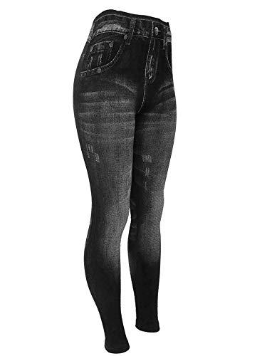 CLOYA Women's Denim Print Fake Jeans Seamless Fleece Lined Leggings, Full Length