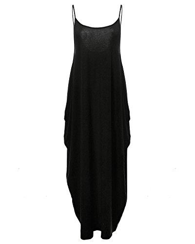 StyleDome Vestido Maxi Largo Casual Playa Fiesta Noche Cóctel Algodón Cuello V Tirantes para Mujer Negro