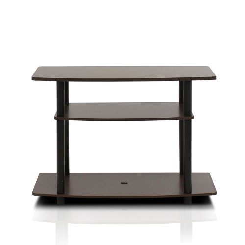 urn-N-Tube No Tools 3-Tier TV Stand, Espresso/Black (Tube Green Screen)