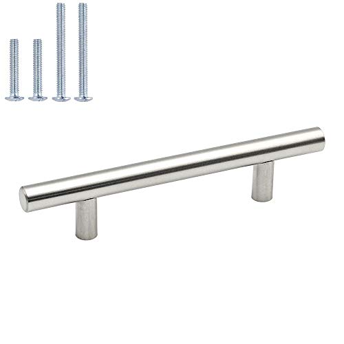 homdiy Cabinet Handles Brushed Nickel Drawer Pulls - HD201SN Cabinet Hardware Stainless Steel Kitchen Cupboard Handles Cabinet Handles,25 Pack 3-1/2in Hole Centers Handles for Dresser Drawers