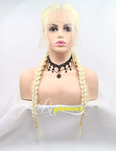 Riglamour Blonde Pigtail Lace Front Wig Natural Looking Hair Parting Twin Braids Wigs with Baby Hair Long Synthetic 100% Fiber Hair Yellowish Blonde Color (Blonde #613)