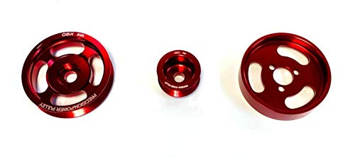OBX Performance Polished Red Pulley Set 93-97 VW Passat, 93-03 Jetta VR6 2.8L 12V SOHC