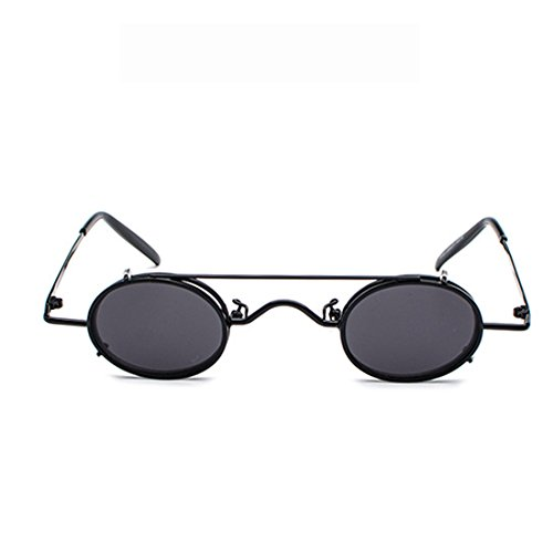 Circle Sunglasses Negro Desmontables sol Retro de Yefree Gafas Gafas Clamshell TqBgxY4
