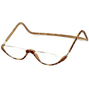 Clic Sonoma Single Vision Half Frame Designer Reading Glasses in Blonde Tortoise +2.00