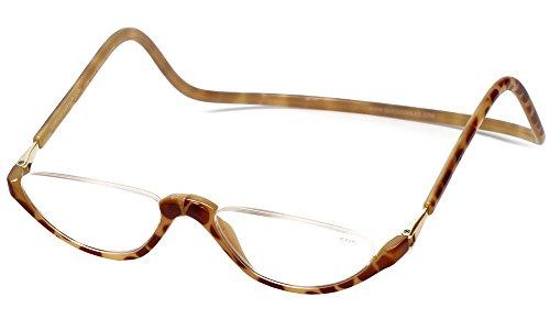 Clic Sonoma Single Vision Half Frame Designer Reading Glasses in Blonde Tortoise - Blonde Tortoise And Eyewear