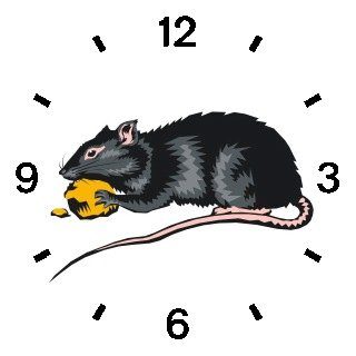 Black Mouse or Rat with Cheese Animal - WATCHBUDDY ELITE Chrome-Plated Metal Alloy Watch with Metal Mesh Strap-Size-Large ( Men's Size or Jumbo Women's Size )