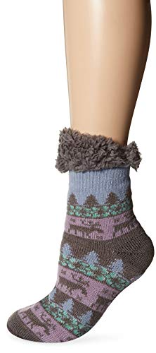 Muk Luks Women's 1-Pair Fluffy Cabin Socks, shadow, Large/X-Large