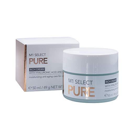 Anti-Aging Hyaluron Creme von den M1 Schönheitskliniken - für alle Hauttypen, mit Peptiden und Algenextrakt - M1 SELECT PURE RICH CREAM 50 ml