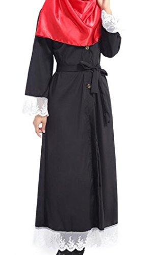 Pizzo donne Cintura Con Nero Vestito Colore Coolred Musulmano Abaya Puro Cardigan HE7wUdq