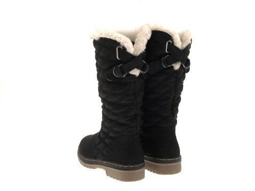 Womens Dora Knee Ladies Lora Boots Winter Size Faux Black High Quilted Snow Lined 3 8 Shoes Boots Fur UK n40RAx0