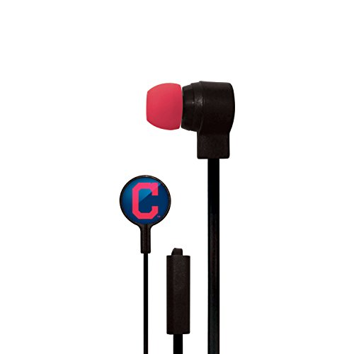 Cleveland Indians Mlb Crystal - Mizco MLB Cleveland Indians Big Logo Cord Earbuds, Small, Black