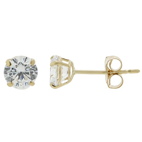 14k Yellow Gold 5MM Round Cubic Zirconium Stud Earrings (Cubic Zirconium Ring 14k)